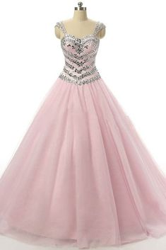 Pink A-line Tulle Prom Dresses Crystals Floor Length