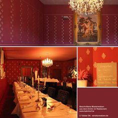 Wand mit gerolltem Muster im Restaurant ... #Musterwalzen #pattern #design