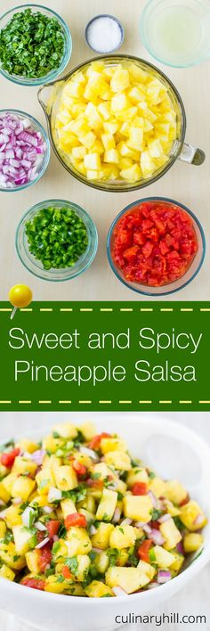 Sweet and Spicy Pineapple Salsa is your answer to summer snacking. It's perfec… Sweet and Spicy Pineapple Salsa is your answer to summer snacking. It's perfect with chips or your favorite grilled meat while being kind to your waistline! Mexican Food Recipes, New Recipes, Cooking Recipes, Flour Recipes, Bread Recipes, Healthy Snacks, Healthy Eating, Healthy Recipes, Good Food