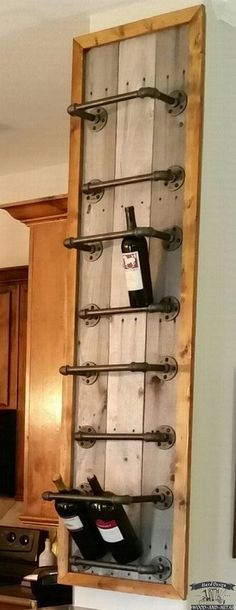 Подставка для винных бутылок из водопроводных труб в стиле Steampunk декор интерьера