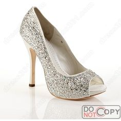 Silver wedding shoes via Polyvore