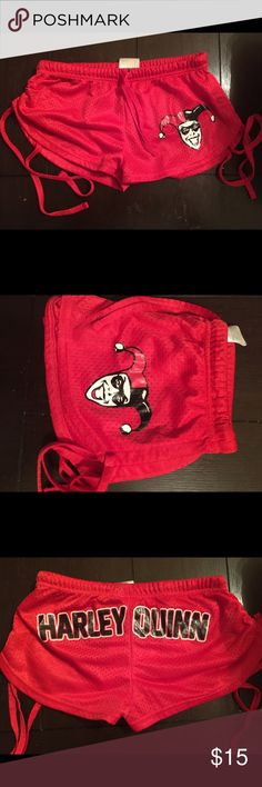 Harley Quinn booty shorts small medium D.C. Comic brand size medium runs small in my opinion so it can be a size small or small medium . Super cute I would keep if they fit :( , says Harley Quinn in the back ! Can scrunch up on side or leave it like normal shorts DC Shorts