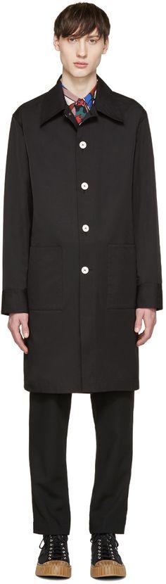 MARNI Black Poplin Vented Coat. #marni #cloth #coat