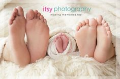 family of feet newborn posing ideas with a family of 3