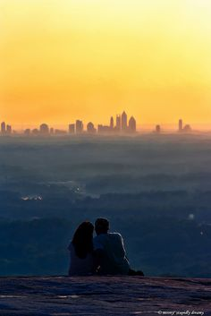 On the roof of Stone Mountain, Georgia  Yep, its that pretty!! Went up twice the view was so good. Think first time it was hazy out. Second you could see forever.