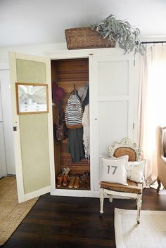Full size door Hang jackets, bags on bottom Entryway armoire - a great way to add storage to an entryway. If the closet is too small or if there isn't a closet an armoire adds amazing storage that you can hide away the mess! Armoire Ikea, Computer Armoire, Antique Armoire, Armoire Makeover, Redo Armoire, Bar Armoire, Furniture Makeover, Furniture Ideas, Entryway Closet
