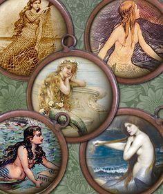 Victorian Vintage Mermaids Digital Collage Sheet