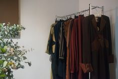 1970s Ossie Clark hanging in the Madrid Showroom. This Era Archive by appointment only vintage rental showroom. Ossie Clark, Second Hand Shop, Wardrobe Rack, Showroom, 1970s, Madrid, Vintage Outfits, Archive, Clothes