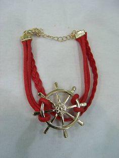 Pulseira Leme Vermelha R$ 24,00  www.elo7.com.br/dixiearte