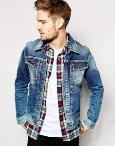 Search for jean jacket men at ASOS. Shop from over styles, including jean jacket men. Discover the latest women's and men's fashion online Denim Jacket Fashion, Denim Jacket Men, Men's Denim, Denim Style, Denim Jackets, Blue Jean Jacket Mens, Jean Jackets, Blue Denim, Mode Man