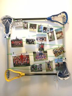Lacrosse fiddle sticks and paracord make a frame for lacrosse photos and team pictures.