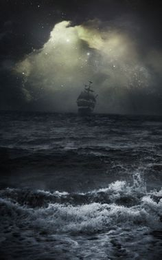 Inspiration for the stormy night at sea in Caribbean Jewel by Jayla Jasso - beautiful brigantine in choppy waters with storm clouds