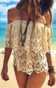 #summer #style off the shoulders lace @wachabuy