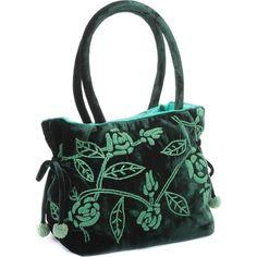 Green Velvet Handbag (79,720 KRW) ❤ liked on Polyvore featuring bags, handbags, man bag, handbags bags, green handbags, velvet handbags and velvet bags