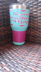 Sweet Southern Mess Glitter Dipped Tumbler