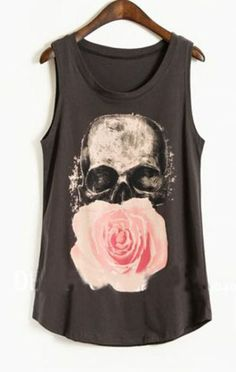 Navy Paintily Skull and Rose Print Sleeveless Tank Top pictures