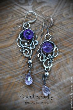 "Handmade earrings.  Fair Masters - handmade silver earrings ""Violet fairy tale.""  Handmade."