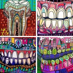 The art of Heather Galler shows how teeth with more imaginative colors can create some striking designs!