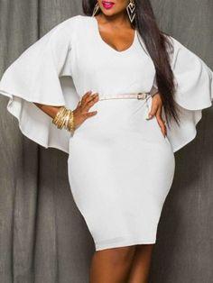 81b88f6cf27 V-Neck Plain Plus Size Bodycon Dresses. CocktailPlus Size Bodycon DressesCheap  Online ShoppingWholesale ...