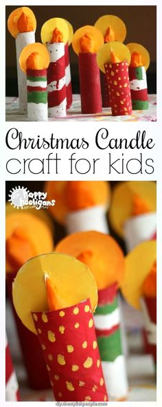 weihnachten kerzen Kids can make this easy Christmas candle craft with a few paper towel rolls and some tissue paper. Theyll look gorgeous on a mantel or holiday table - Happy Hooligans Fun Crafts For Kids, Christmas Crafts For Kids, Christmas Projects, Christmas Themes, Christmas Fun, Holiday Crafts, Art For Kids, Craft Kids, Advent For Kids