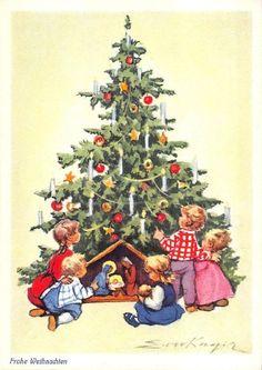 Alte AK col. Künstlerkarte Erica von Kager / Kinder vor dem Weihnachtsbaum | eBay
