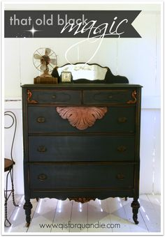 q is for quandie | from a vintage vantage point.  Dresser painted in MMSMP in Typewriter.