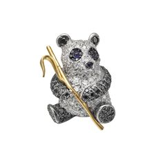 Betteridge Collection Black & White Diamond Panda Brooch - Look at that chubby belly & those adorable eyes!  Reminds me of Winnie the Pooh :)