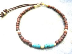 Brown Rosewood bracelet with heishi Turquoise  style by zahavblue, $78.00