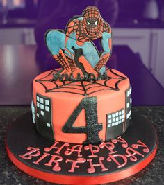 Spiderman Themed Cake with Edible Plaque