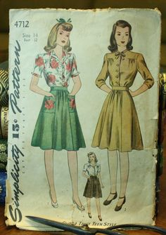Simplicity 4712 1940s 40s Blouse and Skirt by EleanorMeriwether, $12.00