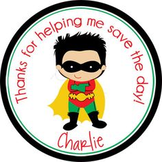 Super Boy Superhero design.  Personalized stickers by partyINK.