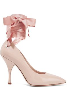 Heel measures approximately 105mm/ 4 inches Blush patent-leather Ties at ankle Made in Italy