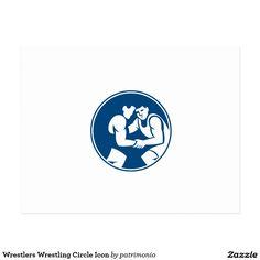 Icon illustration of wrestlers wrestling set inside circle on isolated background done in retro style.