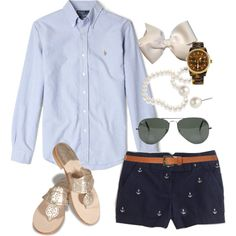 Anchor Shorts by classically-preppy on Polyvore featuring Jack Rogers, Michael Kors, Givenchy, Ray-Ban, Topshop, Polo Ralph Lauren, J.Crew, denim shirts, aviator sunglasses and pearl necklaces