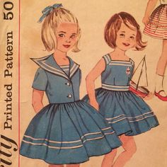 1960's Sailor Style Girl's Dress and Jacket  Vintage by LagunaLane