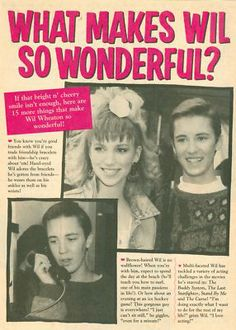 wil wheaton young   WIL WHEATON - DEBBIE GIBSON - TEEN BOY ACTOR CLIPPING Gordie Lachance, Wesley Crusher, Richard Williams, Wil Wheaton, Cute Lightskinned Boys, Debbie Gibson, Teen Boys, Girls, Young Celebrities