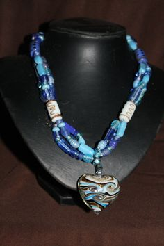 Beautiful Glass Bead Necklace with Glass Love by CavettaCreations, $45.00