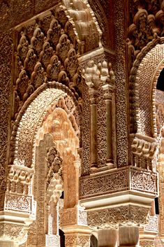 Stucco at the Alhambra Palace, Granada, Spain