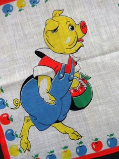 1950s Vintage Childrens Handkerchief This Little Piggy Went to Market Apples EUC #Unbranded #Novelty #Everyday