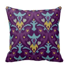 Chic modern gold purple ikat tribal pattern throw pillow