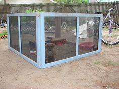 Love the idea!  Convert window frames into small pet pen for the yard.