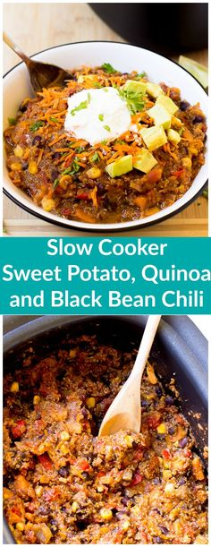 Vegan Sweet Potato and Black Bean Quinoa Chili (Slow Cooker) - Jessica In The Ki. Vegan Sweet Potato and Black Bean Quinoa Chili (Slow Cooker) – Jessica In The Ki… , Slow Cooker Quinoa, Slow Cooker Black Beans, Slow Cooker Chili, Vegan Crockpot Recipes, Chilli Recipes, Healthy Recipes, Vegetarian Recipes, Cooker Recipes, Crockpot Meals