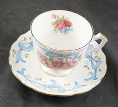 AYNSLEY Fine Bone China Cup & Saucer Flower of the Month JUNE ROSE by RarebirdAntiques on Etsy