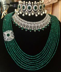 Best Luxury Silver Bangle Bracelets - All Things Vogue Indian Jewelry Sets, Indian Wedding Jewelry, Bridal Jewelry Sets, Bridal Jewellery, Gold Jewellery, Stylish Jewelry, Luxury Jewelry, Antique Jewellery Designs, Emerald Jewelry