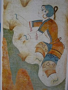 Minoan Art Reproduction of ancient Minoan art. The ancient Minoan civilization included settlements on the pre-eruption island of Thera. Some think the colapse of the volcanic crater into the sea lead to the myth of the lost continent of Atlantis. Greek History, Ancient History, Art History, European History, American History, History Medieval, Ancient Egyptian Art, Ancient Greece, Egyptian Mythology