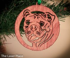 I Love My Bulldog Bulldogs Laser cut ornament by TheLaserPlace