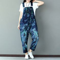 51041299ae1 Mori Style Flora Print Rompers Women Jumpsuit Loose Fashion Overalls  Vintage Denim Suspenders Trousers with Braces Bib Pants-in Jumpsuits from  Women s ...