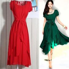 Womens VINTAGE Pleated Maxi Dress Prom Party Evening Chiffon Summer Long Dress