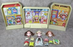 Vintage 1979 Knickerbocker Dolly Pops Pop Town Set w/Dolls & Accessories #Knickerbocker #DollswithClothingAccessories
