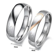 Men Women Stainless Steel Real Love Wedding Rings Heart Couple Engagement Bands